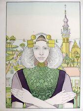 Franz MELCHERS  Phalène des Îles de la Mer 1897 Lithographie couleur ART NOUVEAU