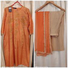 Dressi Dale 100% Pure Soft Silk Peach Clr Kamiz,Linen Pants& Georgette Scarf.M/L