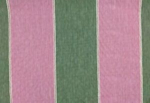 Colefax and Fowler Green and Pink Stripe Upholstery Fabric **PER METRE**