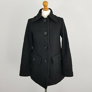 Zara TRF Womens Black Collared Button Up Wool Pea Coat Jacket Size M