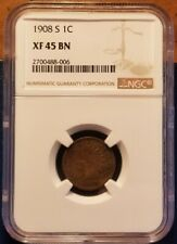 U.S. 1908-S Indian Head Penny / Cent - 1c - NGC - XF- 45 BN