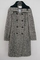 Women Calvin Klein Wool Coat Long Tweed Grey Double Breast Size UK8 Small ZLA134