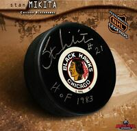 STAN MIKITA Signed Chicago Blackhawks Original Six Puck w/ HoF Inscription