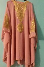 Moroccan Dubai kaftan nude pink gold Tunic dress UK 16 18 20 22 24 26 28 30