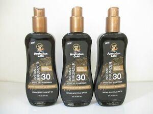 3 Australian Gold Instant Bronzer spf 30 Spray Sunscreen 8oz Exp 11/22 JL 13434