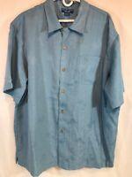 Puritan Men's Blue Hawaiian Palm Tree Button Front Short Sleeve Shirt SZ XL