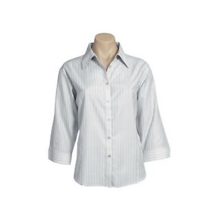 Qty 2 - Women's Business Shirts Size 12 Silver/Grey 3/4 Sleeve - LB-2625