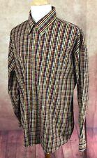 Enro Non-Iron Button Down Long Sleeve 100% Cotton Brown Check Shirt Men's XXL