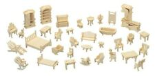 Dolls House Furniture Kit - Wood Craft - Self Assembly Decorate 34 Pieces Room