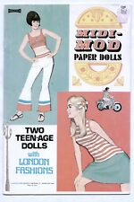 Vintage Saalfield #1348 MIDI MOD paper dolls 1966 uncut TEEN-AGE LONDON FASHIONS