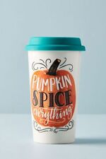 Anthropologie Autumn Travel Mug With Lid Pumpkin Spice Everything Stoneware 16oz