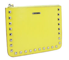 Rebecca Minkoff Slate Yellow Cory Smooth Leather Studded iPad Top Zip Pouch NWT
