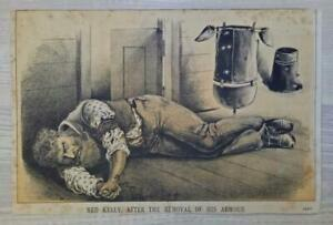 Antique PRINT NED KELLY 'REMOVAL OF ARMOUR'- Illustrated Sydney News, July 1880