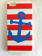 Blue Anchor with Red White Stripes Background Printed iPhone 5 5s Case for Apple