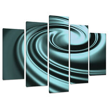 Five Piece Teal Abstract Canvas Wall Art Pictures Set Blue Green 5060
