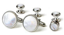 Genuine Mother of Pearl Tuxedo Cufflinks and Studs Silver