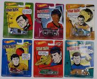 1:64 Hot Wheels Star Trek Sulu Scotty Spock Mccoy Uhura Kirk Set 6 pcs 1:64