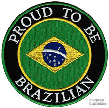PROUD TO BE BRAZILIAN iron-on embroidered BIKER PATCH BRAZIL FLAG BRASIL