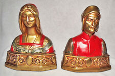 Nice Antique Bookends/Dante & Beatrice/Polychrome Bronze Clad by Armor Bronze