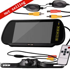 "Wireless Car 7"" LCD Screen Rear View Backup Mirror Monitor Reverse IR Camera Kit"