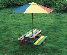 Wooden Rainbow Garden Picnic Table Bench Parasol Set Kids