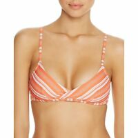 MINKPINK Womens Striped Wireless Swim Bikini Top, Coral, M