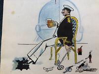 Caricature Dessin Guillaume II Empereur d'Allemagne Roi de PRUSSE Antique