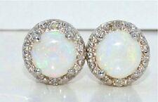 Natural Opal 6mm & Diamond Round Shape Stud Earrings 14Kt White Gold