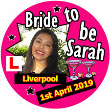 HEN - BRIDE TO BE BADGE - BIG PERSONALISED BADGE, ANY PHOTO - NAME - BRAND NEW