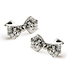 Fashion 925 Silver Plated Rhinestone Crystal Bow Knot Wedding Ear Stud Earrings