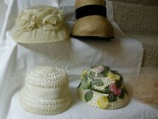 Five Women'S Vintage Easter, Summer, Church, Hats, Straw, Floral