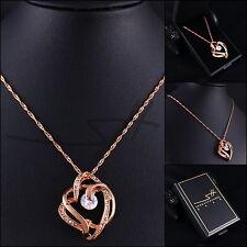 Super Kette Halskette *Big modern Heart*, Rosegold pl, Swarovski Elements, +Etui