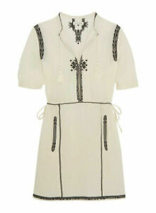 """ISABEL MARANT ETOILE """"RELLEY"""" EMBROIDERED COTTON DRESS CREAM SIZE 38"""