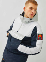 Ellesse Men Overhead Jacket Large Pouch Pocket 1/4 Zip Up Panel Padded Hooded
