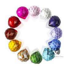 H&D 12pcs Rainbow Crystal Glass Ball Chandelier Prisms Pendants Parts Drops 30mm