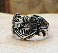 Harley Davidson Motorcycle Logo Ring Solide 925 K Sterling Silber  Mens Ring