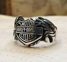 Harley Davidson Motorcycle Logo Ring Solid 925 K Sterling Silver  Mens Ring