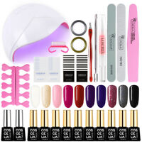 36W UV/LED Lamp Nail Polish Set-Kit 10Pc Gel+Tool+Top Base Coat Soak Off Varnish