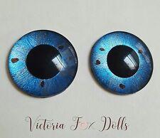 Blythe Doll Realistic Handpainted Bright Blue Metallic Eyechips Eye Chips 14mm
