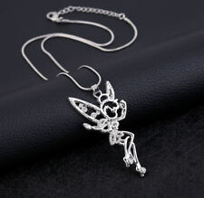 ** BEAUTIFUL ** Large DIAMANTE TINKERBELL **  Fairy Pendant & Chain Necklace **