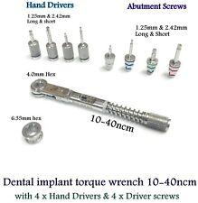 Dental Implant Torque Wrench 10-40Ncm & 8 Pcs Screws Hex Drivers & Hand Drivers