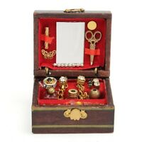 1:12 Scale Dollhouse Mini Wooden Jewelry Box Miniature Filled Accessories Toy