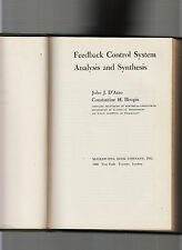 FEEDBACK CONTROL SYSTEM ANALYSIS & SYNTHESIS-D'AZZO 1ST ED 1960 HB-CLASSIC IN VG