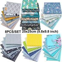 8PCS Mixed Cotton Fabric Material Sewing Value Bundle Scraps Offcuts Quilting DY