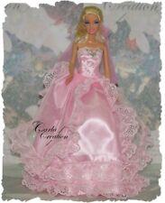 Féerique Robe  De Bal Rose Princesse Mariage Poupée Barbie Mannequin Dress