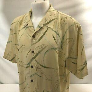Tommy Bahama Men's Hawaiian Aloha Shirt XL Yellow Abstract Leaves 100% Silk