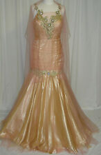 UNIQUE PAGEANT PROM COCKTAIL DRESS HOMECOMING EVENING FORMAL GOWN Peach/Gold 10