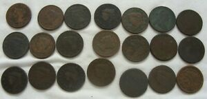 21 Large Cent US Pennies 1802-1849