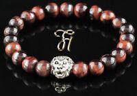 Tigerauge rot - silberfarbener Löwenkopf - Armband Bracelet Perlenarmband 8mm