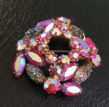 1950's Juliana A/b Red Rhinestone marquise cut brooch pin faux iridescent pearls